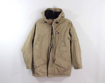 90s Tommy Hilfiger Spell Out Full Zip Spell Out Hooded Parka Jacket Mens Medium, Vintage Tommy Hilfiger Jacket Parka Jacket 90s Tommy Jacket
