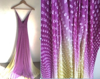 Nicole Miller vintage dress- evening gown - bias cut dress- 1930's style - purple yellow flocked silk- size 6