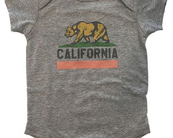 California Bear Heather Grey Short Sleeves Bodysuit