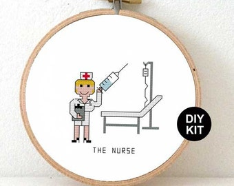 Easy Embroidery Kit Nurse. Gift for nurse. DIY nurse appreciation gift. Cross stitch kit including embroidery hoop.