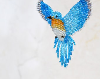 Bluebird Suncatcher, Blue Bird Ornament, Bird Necklace, Bird Lover Gift, Beaded Bird Figurine, Bead Work Hanging Decor / Made to Order