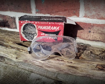 Vintage 60's Mid Century Panorama All Purpose Safety Goggles original package prop