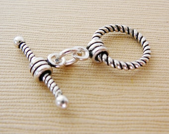 Sterling Silver Clasp, Toggle, Twisted Rope Jewelry Closure Oxidized