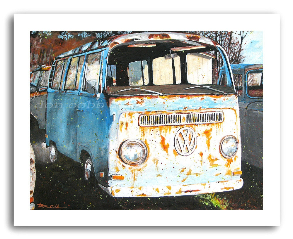 Vw Volkswagen Hippie Bus Art Vw Down And Out