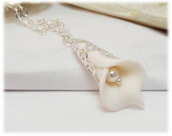 Petite Calla Lily Necklace - Calla Lily Jewelry, Calla Lily Wedding Jewelry, Calla Lily Bridal Necklace