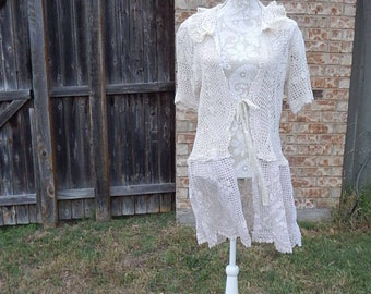 RESERVED FOR SANDTYAltered Women's Crocheted Top, Altered Couture, Maglonia Pearl Style- X-Large, Crocheted Bottom, Shabby Chic, Romantic To