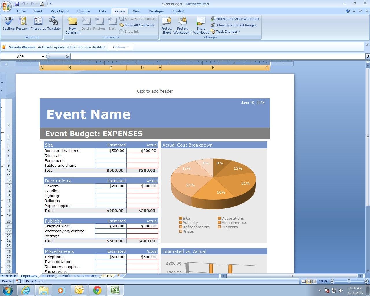 Plantilla de hoja de cálculo de Excel de presupuesto evento