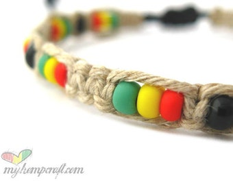 Hemp Bracelet, Rasta Macrame with Red Yellow Green Glass Beads