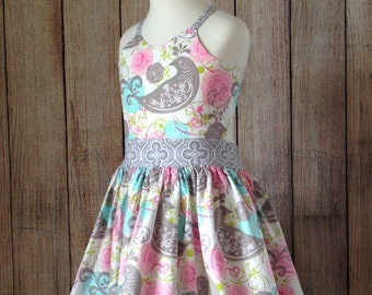 Sweet Paisley Birdie Dress, Toddler Dress, Little Girls Dress, Sizes 2 3 4 5 6 7 8, Open Back Dress, Summer Dress, Spring Dress, Sundress