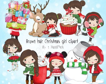 Brown hair Christmas girl Clip art instant download PNG file - 300 dpi