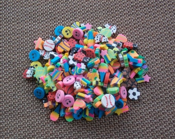 VINTAGE: Neon Erasers Lot of Ten 10 Childrens School Supply 1980s Back to School Heart Star Pink Smiley Dog Comet Fish Ice Cream Sports Cute