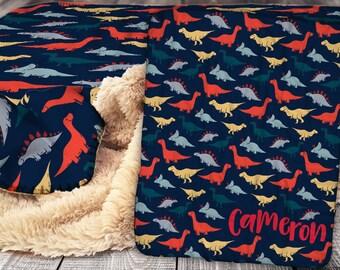 Personalized Dinosaur Blanket - Sherpa Throw Blanket -  Dinosaur Name Blanket - Personalized Name Blanket - Dinosaur Baby Blanket
