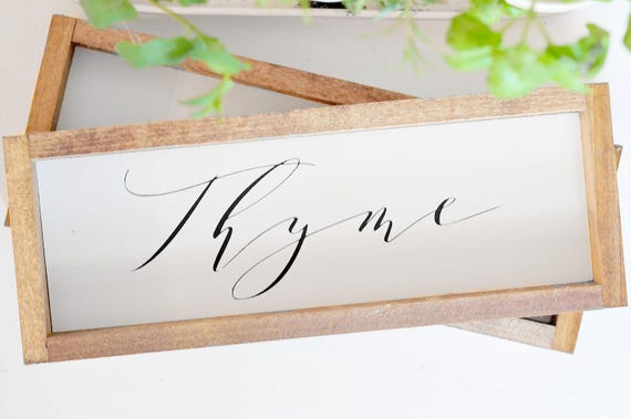 Herbs | Wood Sign | Thyme | Basil | Plants | Garden | Parsley | Sage | Mint | Oregano | Cilantro | Home Decor | Framed | Farmhouse