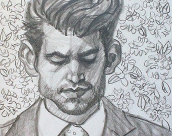Best Man, graphite on cotton paper, 9x12 inches  by KennEy Mencher