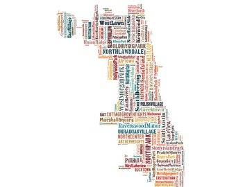 Chicago Map Typography Map Color Poster Print Typographic Map