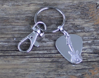Guitar Pick keyring for music lovers, guitar plectrum, silver guitar, father's day