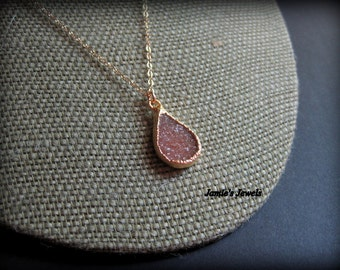 Druzy Necklace - Brown Druzy Necklace - Gold Filled Druzy  - Geode - Quartz - Modern - Layering - Autumn  - Druzy Necklace Gold -Raw Crystal