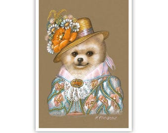 Pomeranian Art Print - Lady Wildflower - Cute Dog Wall Art - Pets in Art - Whimsical Dog Portraits by Maria Pishvanova