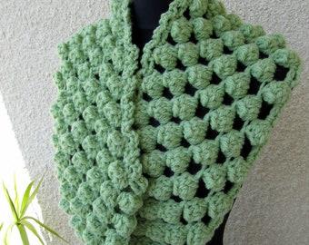 Crochet Scarf PATTERN, Chunky Scarf Pattern, Circle Scarf, Crochet Popcorn Stitch Scarf, Instant Download PDF Pattern #53, Lyubava Crochet