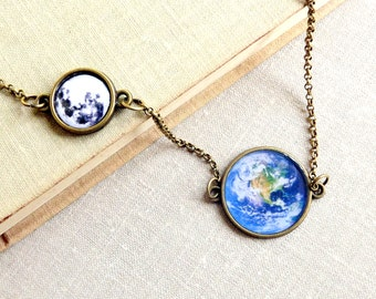 Moon and Earth Necklace Full moon necklace Planet necklace Earth and moon pendant Gift for her
