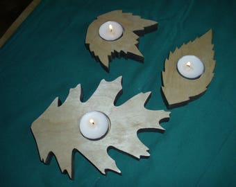 Hand crafted leaf tea light candle holders set of 3 made in USA