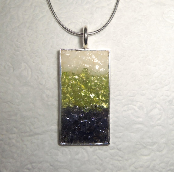 Gemstone Chip Pendant with Chain Blue Aventurine Peridot White Agate Silver