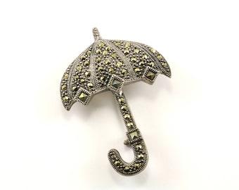 Vintage Umbrella Design Marcasite Pin/Brooch 925 Sterling BB 1079