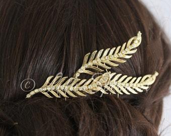 Gold Wedding Hair Pins Leaf Hair Pins Gold Leaf Hair Clip Set of Three Bridal Hair Pins Leaf Pins