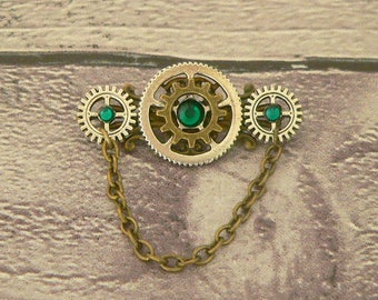 Green Brooch, Steampunk Brooch, Steampunk Pin, Neo Victorian Brooch, Steampunk Jewellery, Victorian Jewellery, Steampunk Jewelry