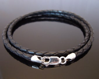 "3mm Black Braided Leather Necklace Or Double Wrap Bracelet With Sterling Silver 16"" 18"" 20"" 22"" 24"" 26"" 28"" 30"" etc"