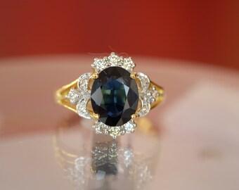 Diamond Wedding Cocktail Blue Sapphire 18K Yellow Gold Ring [RS0154]
