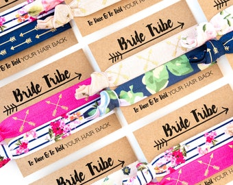 Navy Blue + Pink Bride Tribe Hair Tie Favors | Floral Bridesmaid Proposal Gifts, Boho Bachelorette Favors, Floral Bridesmaid Gift Hair Ties
