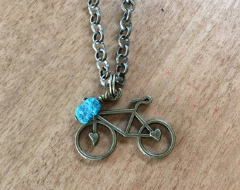 Bike Necklace with Retro Gold Bike Pendant and Turquoise Dangle