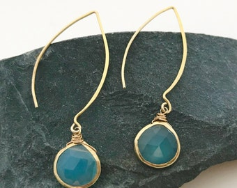 Chalcedony bezel set long tear drop gemstone earrings