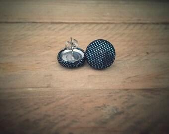 Blue Earrings. Metallic Earrings. Handmade Earrings. Fabric Covered Button Earrings. Stud Earrings. Clip On Earrings.