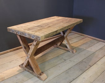Dining Table, Crofters Farmhouse Kitchen Table, Handmade Chunky U0027Xu0027 Frame  (The Cinderford)