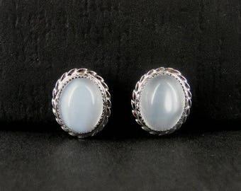 Vintage Moonstone Screw on Back Dainty Sterling 925 Silver Earrings