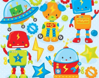 80% OFF SALE Toy robot clipart commercial use, vector graphics, digital clip art, digital images  - CL801