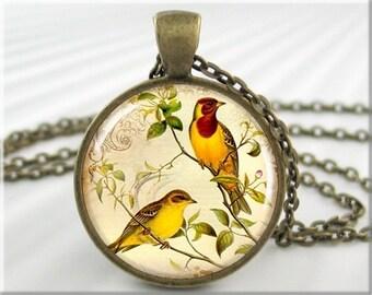 Yellow Bird Pendant, Art Jewelry, Resin Charm, Goldfinch Bird Necklace, Gift For Bird Lover, Round Bronze, Gift Under 20, Bird Charm 015RB