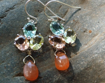 Christmas Jewelry! Gemstone Earrings-Opal Earrings-Peach and Aquamarine Blue Earrings-Wedding-Bridesmaid Earrings