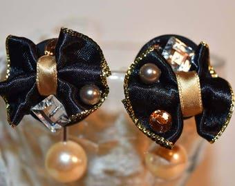 Black Ribbons Pearl ear piercing/black ribbon pearl earrings