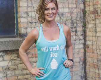 Will workout for cupcakes gym tank, workout tank, fitness tank
