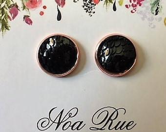 Black Dragon Scale 12mm Stud Earrings