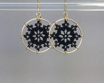 Nautical doily earrings, black silk thread, 14K gold-filled