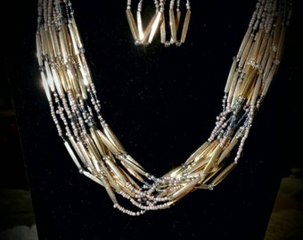 After Life Accessories Handmade: Bronze & Gold layered Necklace with Earrings
