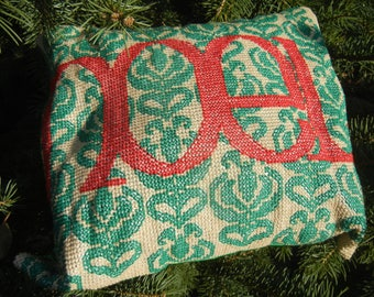 Red Noel on Green Damask Motif - Handmade Finished Cross Stitch Christmas Pillow, 32x30 cm, 128x122 stitches