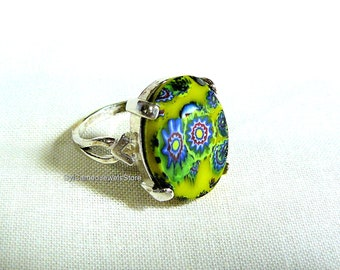 Statement Ring Sterling Silver Melifori Italian Glass Cab Statement Jewelry SylCameoJewelsStore