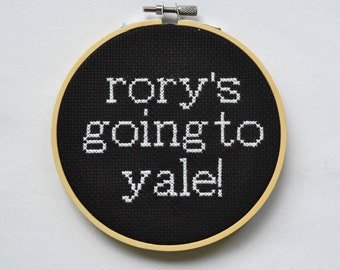 Rory's Going to Yale Hoop Cross Stitch