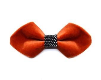 Frozen Velvet Collection-bow tie Orange-Black | White spots