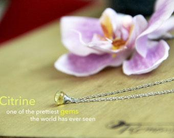 GENUINE raw Citrine Necklace Healing Crystal (Sterling Silver Upgrade Available) Yellow Bridesmaid Necklace